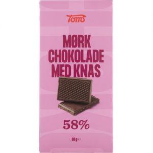 Toms Mørk Chokolade med Knas 58%
