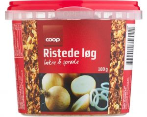 Coop Roasted Onions are made with fresh, finely chopped onions and are salted perfectly. They have the perfect crispness and give a lot of flavour too many dishes.